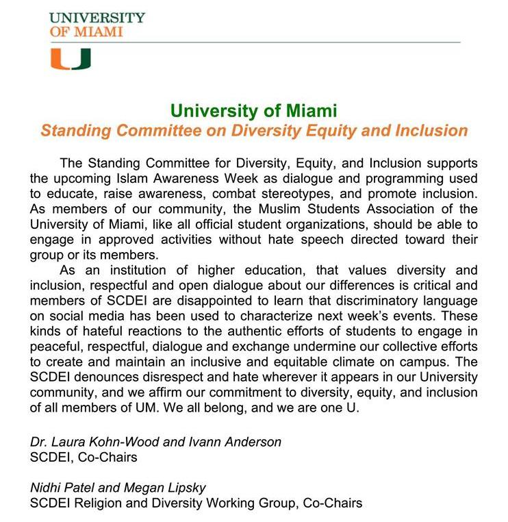UM's Standing Committee on Diversity